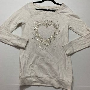 Victoria's Secret Sequin Heart Tunic Sweatshirt